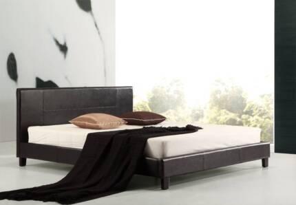King PU Leather Bed Frame Black