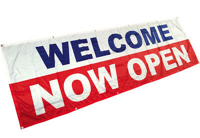 Welcome Now Open Banner Sign Vinyl Alternative Store Retail 3x10 Ft - Fabric Wb