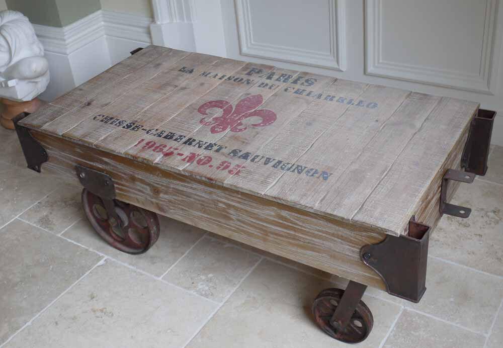 industrial train railway luggage cart coffee table in a retro