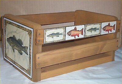 Gift Basket Empty Wood Crate Fish Decor Lodge Decoration Use for Gift Basket #1 - Empty Baskets For Gifts