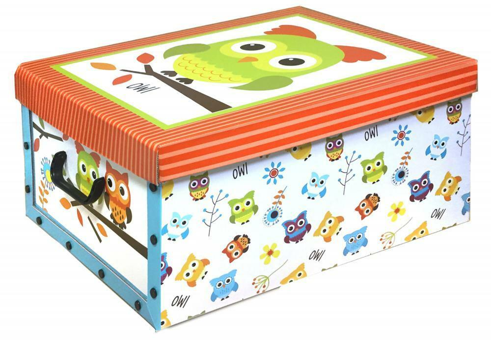 Owl Kids Cardboard Room Tidy Toy Storage Box Chest Trunk Choice Of Design