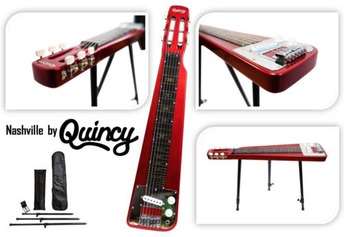 Metallic RED Nashville QUINCY LAP Steel Slide GUITAR legs inc bar country blues
