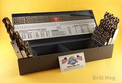 Drill Hog USA 115 Pc Drill Bit Set Letter Number COBALT M42 Lifetime Warranty - Set Number
