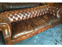 Tan leather 3/4 seater Chesterfield sofa