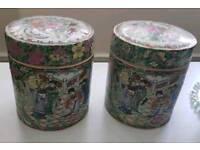 Vintage oriental handpainted ceramic tea caddies
