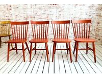 F&B Painted Spindle Back Kitchen Dining Chairs Any Farrow & Ball Rustic Mid-Century Modern Living
