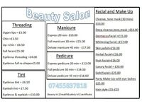 home and mobile beauty salon (threading, manicure,pedicure,facial,tint,massage,waxing) women only