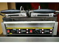 Commercial electric Double Buffalo Panini machine, contact grill.