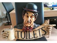 "VINTAGE 1940 DECORATED HAND PAINTED ""TOILET"" CHARLIE CHAPLIN POINTING BY FINGER"
