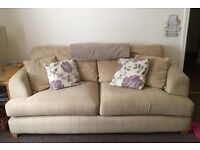 Big 2 seat sofa with cushions and throw