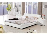 king size bed white faux leather Curve frame only