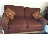 Brown 2 seater sofa bed settee