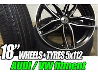 """4NEW 18"""" AUDI STYLE ALLOYS WHEELS + NEW TYRES A3 A4 A5 A6 S3 S4 S5 S6 RS3 RS5 RS6 TT TTS S LINE"""