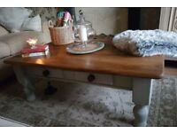 Large heavy solid pine country coffee table