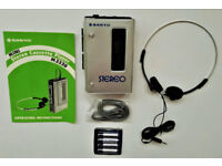 Sanyo Stereo Cassette Player M3330; Charcoal Grey; Silver Case; Headset; 1982