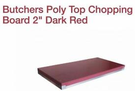 Butchers Poly Top Chopping Board 2 Dark Red 5X2ft