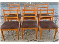 A set of 6 mid century ladder back beech dining chairs Schreiber No 294