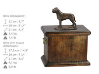 Solid Wood Casket Bullmastiff Urn for Dog's ashes,with Dog statue.(21)