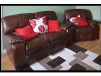 Leather Reclining Sofa & two Leather Reclining Chairs great condition