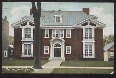 POSTCARD AUBURN NY/NEW YORK CITY CLUB 2 STORY BRICK HOUSE 1907