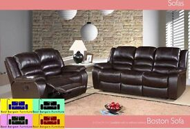 **EXCLUSIVE OFFER 3+2 BOSTON MANUAL RECLINER SOFA**FULL BONDED LEATHER ,AVAILABLE IN BROWN & BLACK
