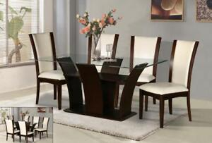 Glass Top Dining Set with 6 Chairs (GL727)