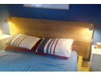 IKEA KING SIZE oak bed frame, over bed/consul table, optional free mattress - MILLPORT