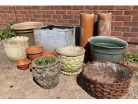Garden Job Lot of Pots / Planters / Urn & Trough Galvanised Terracotta Stone & More!