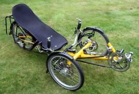 TRICE mini - 3 wheel recumbent. 54 gears, lightweight carbon fibre seat