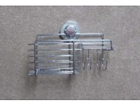 A JOHN LEWIS BLISS LOCK N ROLL COMBINATION SUCTION SHOWER BASKET/TIDY