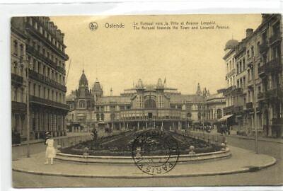 1 postkaart Oostende Het Kursaal naar de stad en Leopold Park Avenue