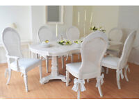 *** WOW *** !!! SALE !!! UNIQUE !!! French Antique Shabby Chic Dining Table & Six Chairs with Bows!!