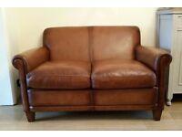 Laura Ashley Distressed Tan Brown Leather Burlington Sofa Settee RRP £1800