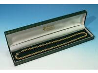 """Italian Solid 9ct Gold 16"""" Rope Twist Necklace in Fitted Case."""