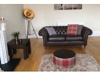 Like new antique brown leather chesterfield sofas
