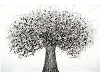 VERY LARGE BLACK & WHITE NEW ABSTRACT OAK TREE MODERN WALL ART CANVAS DRIP PAINTING | Free Delivery