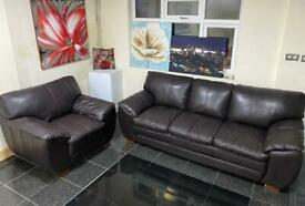 3 seater and Armchair dark Brown super Quality Leather Designer sofa set