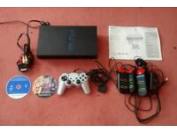 SONY PlayStation 2 Black Console SCPH-39003 PS2 + Controllers + Leads + PS2 Manual + Buzz Mega Quiz