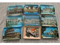 Vintage souvenir postcard trinket trays