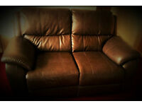Brand new! Brown luxury leather 2 seater reclining sofa. AMAIZING PRICE.