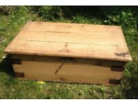 Antique pine chest with working lock and key £34