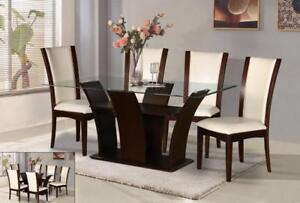 RECTANGLE TABLE WITH GLASS TOP AND WOODEN BASE DINING SET- BIG FURNITURE SALE BRAMPTON - 905-451-8999(BF-54)
