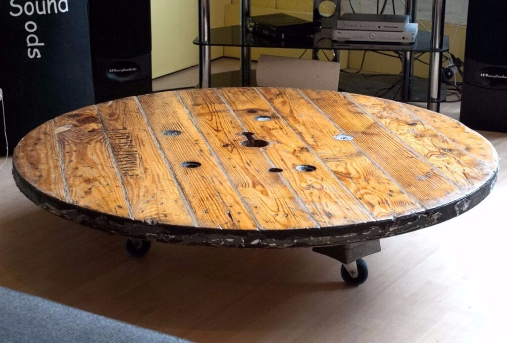 Large Wooden Low Profile Cable Wheel Coffee Dining Table