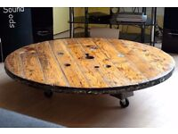 Large Wooden Low Profile Cable Wheel Coffee / Dining Table