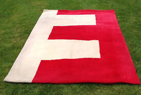 Large IKEA Contemporary Red & Cream Rug