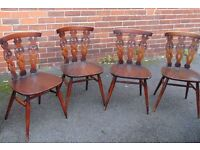 set of four matching recol retro vintage dining chairs