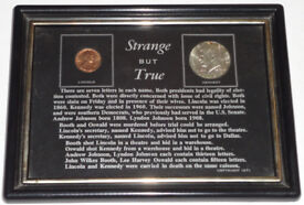 Picture Framed US Uncirculated 1964 Kennedy .900 Silver Half Dollar Coin + Lincoln Cent.