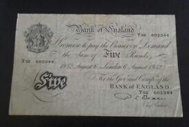 1952 White Five Pound Note