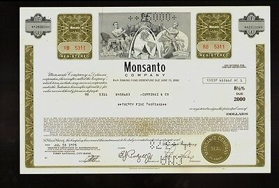 MONSANTO COMP  ( now Bayer )Creve Coeur Missouri USD 25,000 old bond certificate