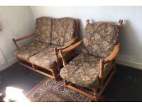 Ercol Pine Frame Jubilee Design Sofa & Armchair